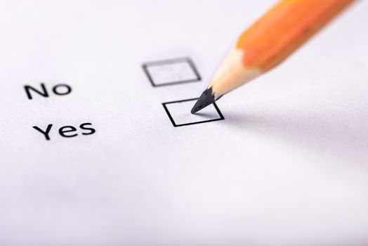 Pencil on the questionnaire Yes-no