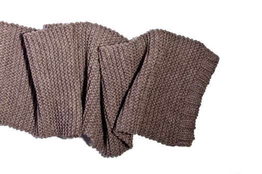 knitted brown wool scarf