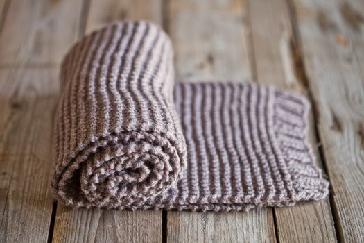 Hand knitted brown scarf