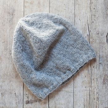 grey knitted wool beanie hat
