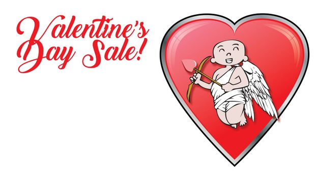 Cupids with Valentines Day Sale retail logo and hearts