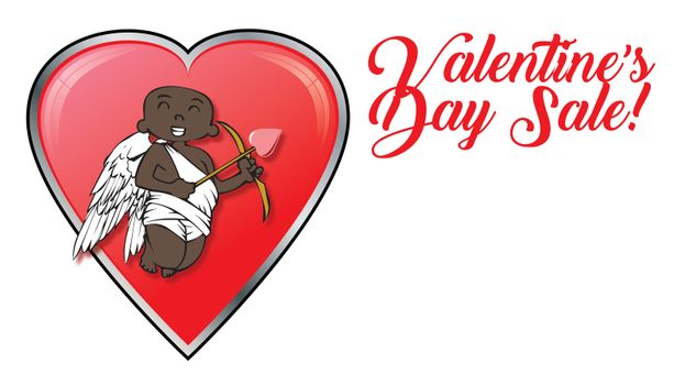 african-american cupid with Valentines Day retail sale logo and hearts
