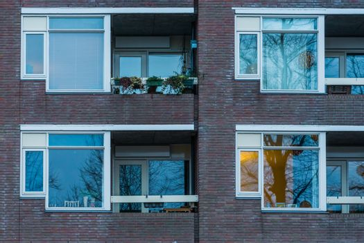 simple apartments with balconies, Dutch city architecture