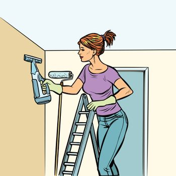 home cleaning, woman and spray of water
