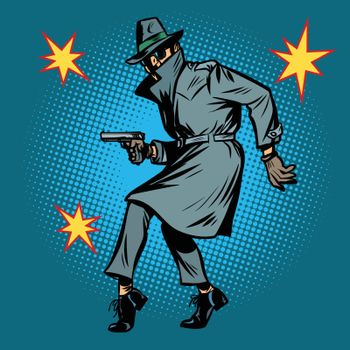detective spy man with gun pose
