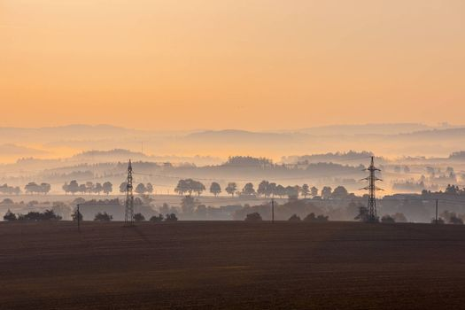 Foggy landscape with a tree silhouette on a fog at sunrise, Czech Republic