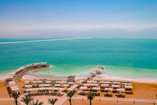 Aerial view of the Dead Sea beach area of Ein Bokek resort in Israel.