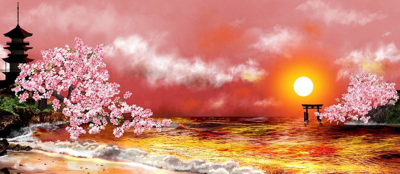 Seascape. Cherry blossoms . Japanese pagoda and the gate against the sky with clouds and sunset. Japanese landscape.