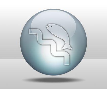Icon, Button, Pictogram Fish Ladder