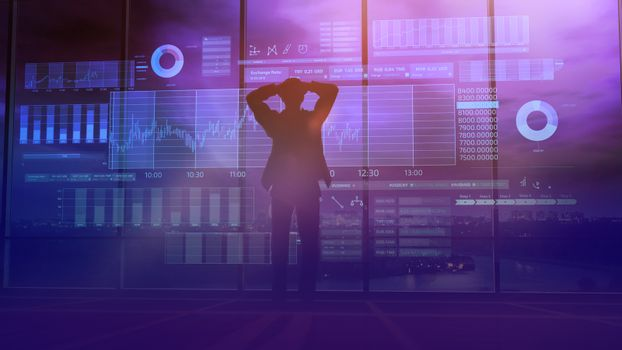 Trader silhouette and stock exchange animation
