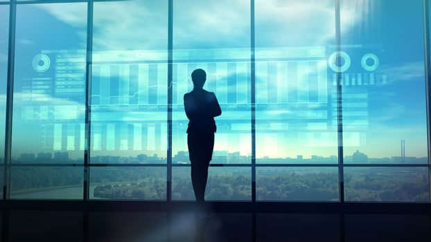 Silhouette of business woman and stock exchange infographics