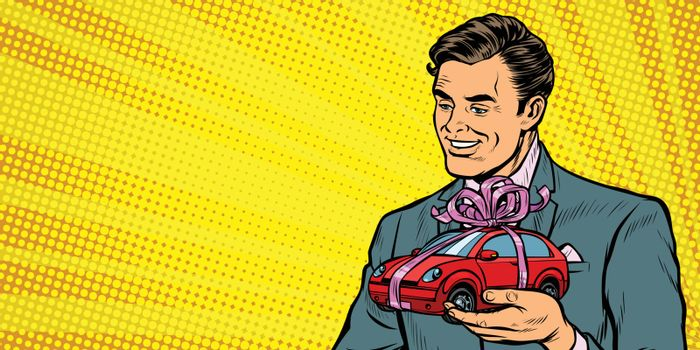 Businessman gives a gift, selling cars
