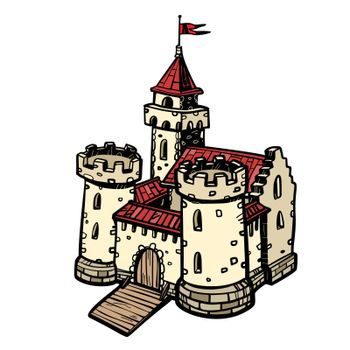 medieval castle, fairy kingdom. isolate on white background