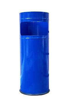 dark blue refuse bin
