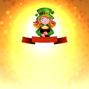 Leprechaun with a pot of gold and clover for print design