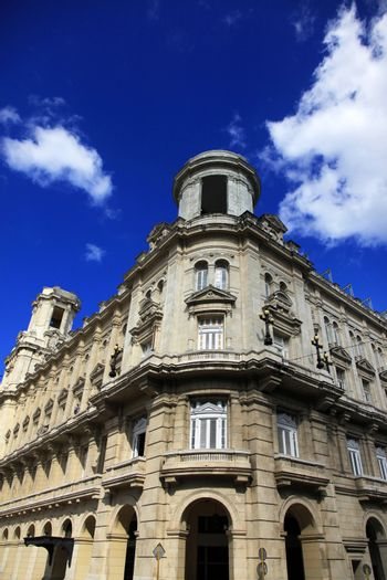 Beautiful facade of a building in the old Havana
