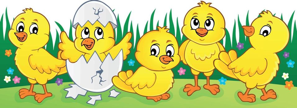 Cute chickens topic image 2 - eps10 vector illustration.