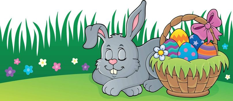 Sleeping Easter bunny theme image 2 - eps10 vector illustration.