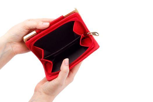 Empty red wallet