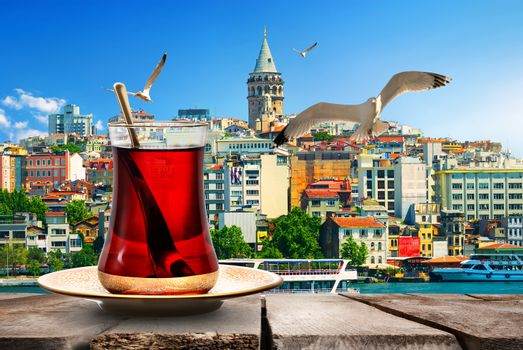 Tea and Galata Tower