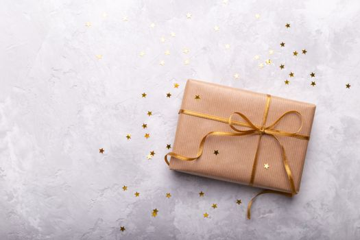Gift box wrapped in craft paper