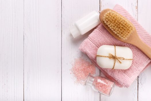 Pink spa and wellness setting