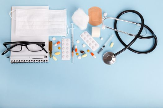 Medical objects flat lay