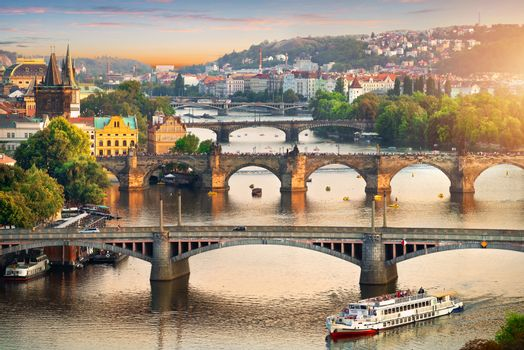 View on bridges of Prague