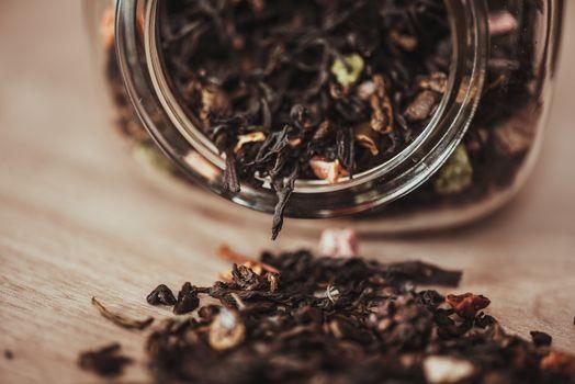 jar with scattering tea