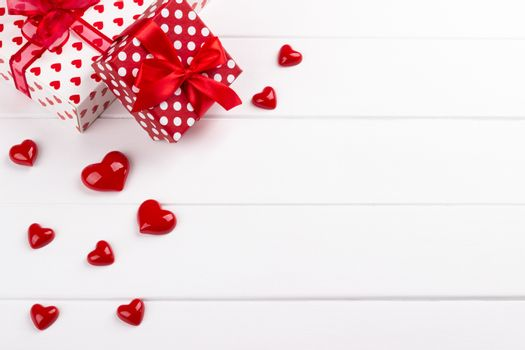 Gift boxes and hearts