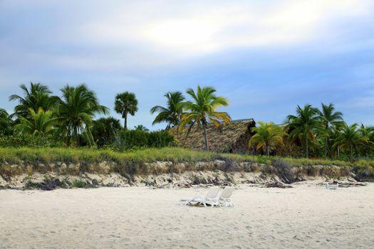 Cuban beach on sunset