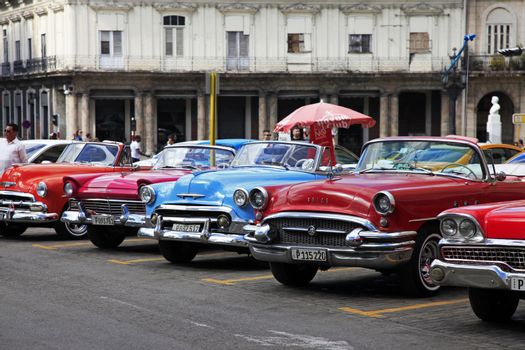 Vintage classic oldtimer cars in old town of Havana