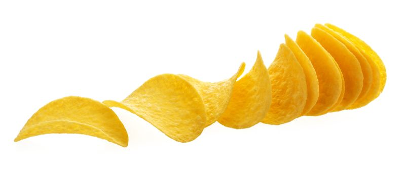 Potato chips isolated on white background with clipping path