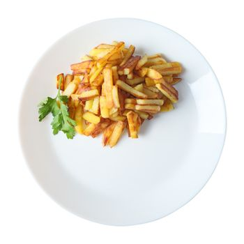 fried potatoes isolated top view