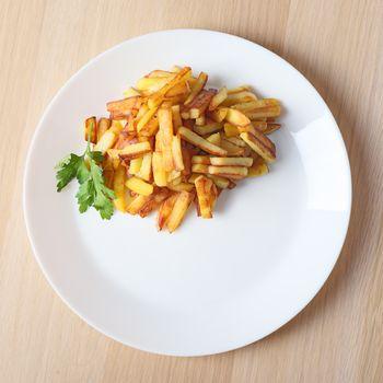 fried potatoes top view