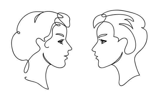 Couple teens communication concept. Young man and woman faces silhouettes. Continuous one line drawing. Black and white vector illustration