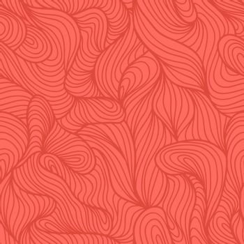 Seamless abstract light hand drawn pattern, waves background. Yarn curly pattern living coral color