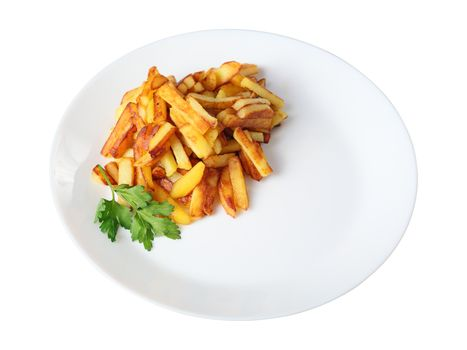 just fried potatoes isolated