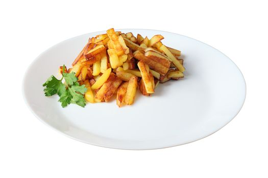 fried potatoes isolated