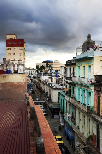 Street in Havana with former Presidential Palace dome in backgro