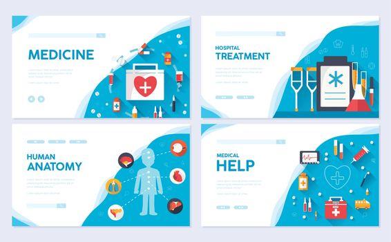 Medicine brochure card set. Medical  template of flyear, web banner, ui header, enter site. Clinical layout invintation modern slider