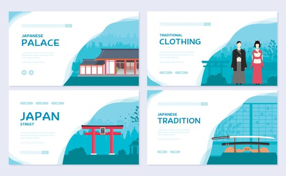 Set of Japan country ornament travel tour concept. Traditional Asia brochure card set.  Ethnic template of flyear, web banner, ui header, enter site. Layout invintation modern slider