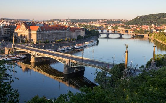 Prague panorama with the Vltava river in the morning