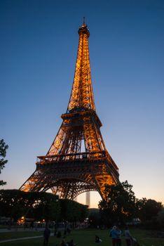 Truss structure Eiffel Tower Tour Eiffel blue sky steel structur