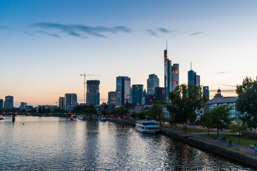 Skyline of Frankfurt in Germany at sunset orange sky