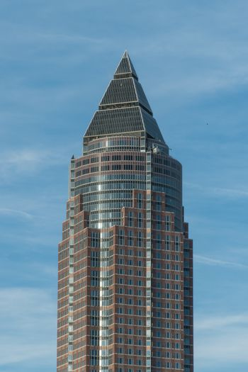 Skyscraper in Frankfurt Germany at sunny day with blue sky