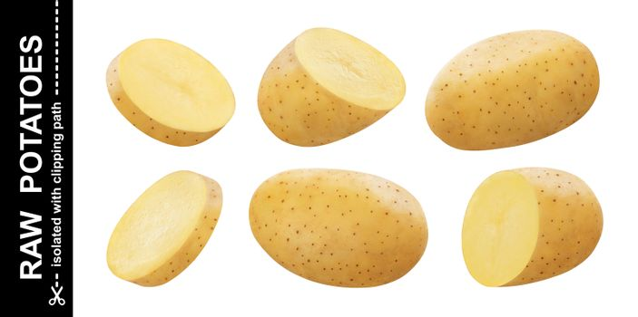 Raw potato isolated on white background with clipping path