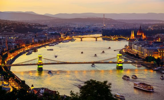 Illumination of Budapest city