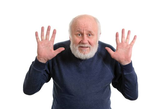 old man shows his empty showing both hands open palms isolated on white