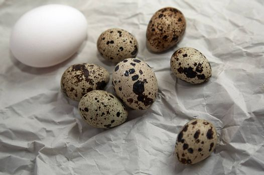 Chicken and quail eggs on a wrapping paper